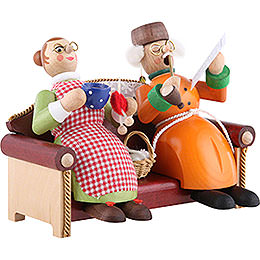 Smoker - Grandmother and Grandfather on Couch - 13 cm / 5 inch