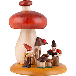 Smoking Hut - Mushroom with Dwarves - 13 cm / 5.1 inch
