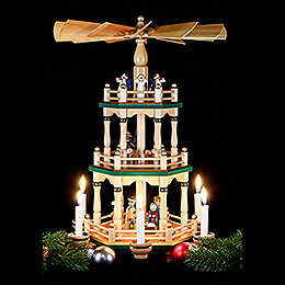 3-Tier Pyramid - Christmas Eve Natural Colors - 48 cm / 19 inch