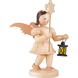 Shortskirt Angel Natural, with Lantern and Star - 20 cm / 7.8 inch