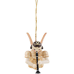Floating Angel with Clarinet, Natural - 6,6 cm / 2.6 inch
