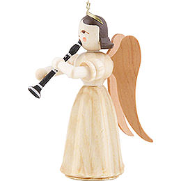 Long Pleated Skirt Angel with Clarinet, Natural - 6,6 cm / 2.6 inch