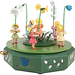 Music Box with Five Flower Children and Flower Meadow - 21x18 cm / 7.1 inch
