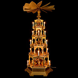 5-Tier Pyramid - The Christmas Story - 142 cm / 56 inch - 230 V Electr. Motor