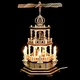 2-Tier Pyramid - The Christmas Story - 48 cm / 19 inch - 230 V Electr. Motor