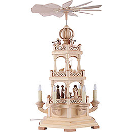 3-Tier Pyramid - The Christmas Story - 50 cm / 20 inch - 230 V Electr. Motor