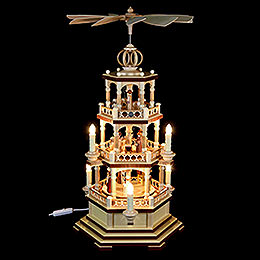 3-Tier Pyramid - The Christmas Story - 58 cm / 23 inch - 230 V Electr. Motor