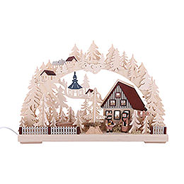 3D Candle Arch - Striezel Children and Fir Trees - 42x30 cm / 17x12 inch