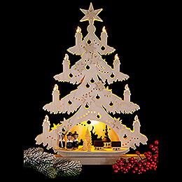 Light Triangle - Fir Tree with Carolers - 32x44 cm / 12.6x17.3 inch