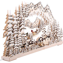 3D Candle Arch - Winter Sports Brown with White Frost - 72x43 cm / 28x17 inch