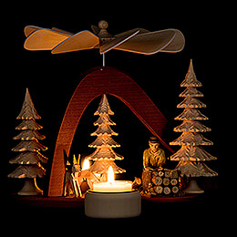 1-Tier Pyramid - Solid Wood - Forest Worker - 17 cm / 6.7 inch