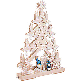 Light Triangle - Fir Tree - Snowmen with White Frost - 32x44 cm / 12.6x17.3 inch