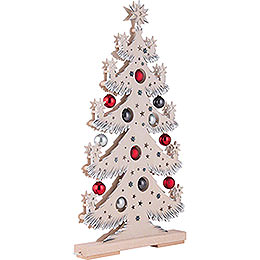 Light Triangle - Fir Tree with Red/Grey Christmas Balls and White Frost - 57x30 cm / 22.4x11.8 inch