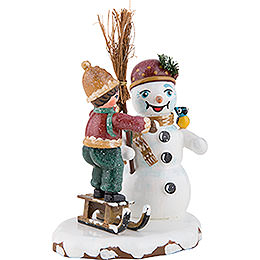 Winter Children Boy with Snowman - 11 cm / 4 inch