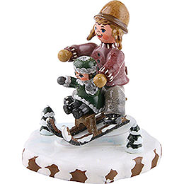Winter Children Girls with Sledge - 7 cm / 2,5 inch