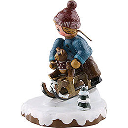 Winter Children Boy with Toboggan - 7 cm / 2,5 inch