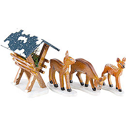 Winter Children Manger with 3 Deer - 3-7 cm / 1,5-3 inch