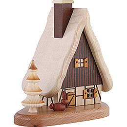 Smoker - House on Pedastal, Natural - 16x15,5x10 cm / 3.9 inch