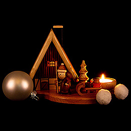 Smoker - House with Santa Claus on Pedastal for One Tea Candle, Natural - 16x21,5x12 cm / 4.7 inch