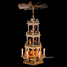 4-Tier Pyramid - Nativity Figurines - Colored - 230 Volt Electrical - 72 cm / 28 inch
