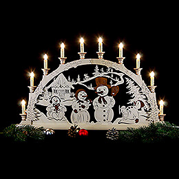 Candle Arch - Snow Man Family - 65x45 cm / 25.5x17 inch