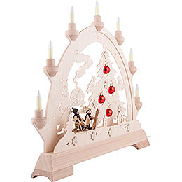 Candle Arch - House with House, Skier and Balls - 48 cm / 18.9 inch