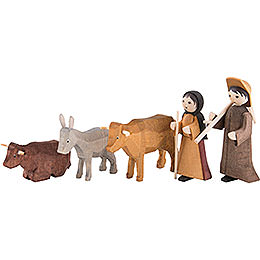 Farmers, Set of Five, Stained - 7 cm / 2.8 inch