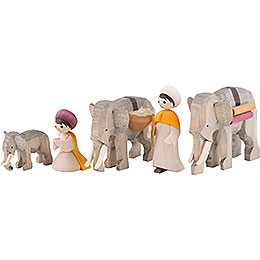 Elephant Herders, Set of Five, Stained - 7 cm / 2.8 inch