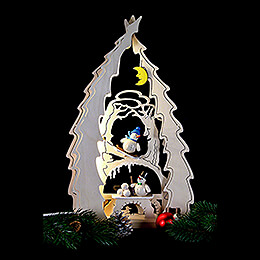 Light Triangle - Tree with Snowmen - 43x25x4,5 cm / 16.9x9.8x1.7 inch