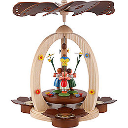 1-Tier Pyramid with Flower Children - Natural Wood - 32 cm / 12.6 inch