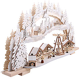 Candle Arch - Christmas Market with Snow - 72x43x13 cm / 28x16x5 inch