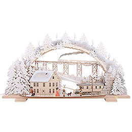 Candle Arch - Train Ride in the Ore Mountains with Snow - 72x43x13 cm / 28x16x5 inch