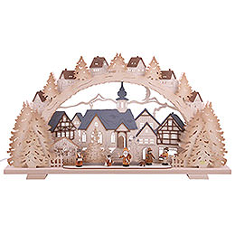 Candle Arch - Christmas Time Natural Wood Exclusive - 72x41x7 cm / 28x16x3 inch