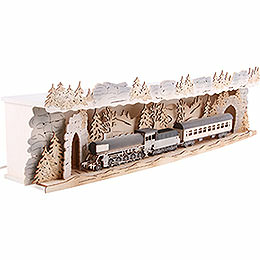 Illuminated Stand 'Train Ride Through the Ore Mountains' for Candle Arches - 75x20x15 cm / 29.5x7.9x5.9 inch