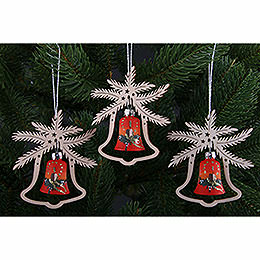Tree Ornament - Hand Painted Glass Bell Red Symphony, Set of Three - 9x8 cm / 3.5x3. inch