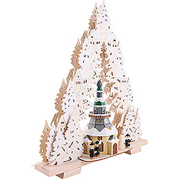 Light Triangle - Church of Seiffen with Snow - 44x50x15 cm / 17x20x6 inch