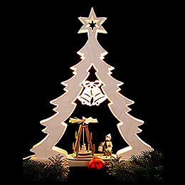 Light Triangle - Fir Tree Advent Idyll, LED - 32x43x7,5 cm / 12.6x17x3 inch