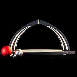 Candle Arch - modern wood - BLACK LINE - without Figurines - 41x20 cm / 16.1x7.9 inch