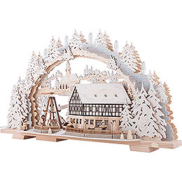 Candle Arch - Snowy Market Café with Turning Pyramid - 72x43 cm / 28.3x16.9 inch