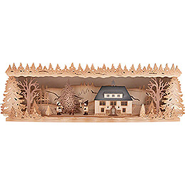 Illuminated Stand - Seiffen Townhall with Christmas Tree - 60x17 cm / 23.6x6.7 inch