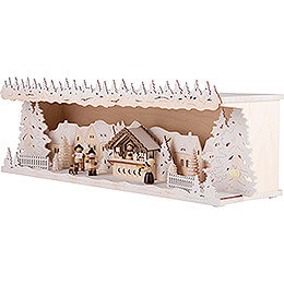 Illuminated Stand - Christmas Market with Snow - 60x17 cm / 23.6x6.7 inch
