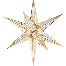 Hartenstein Christmas Star for Inside Use - White with Gold - 68 cm / 27 inch