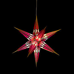 Hartenstein Christmas Star for Inside Use - White-Wine Red with Gold - 68 cm / 27 inch