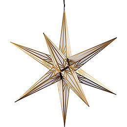 Hasslau Christmas Star - White with Golden Pattern and Lighting - 75 cm / 30 inch -  Inside/Outside Use