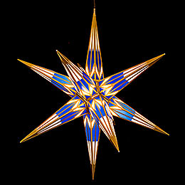 Hasslau Christmas Star - Blue/White with Golden Pattern and Lighting - 75 cm / 30 inch -  Inside/Outside Use
