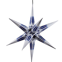 Hasslau Christmas Star - Blue/White with Silver Pattern and Lighting - 75 cm / 30 inch -  Inside/Outside Use