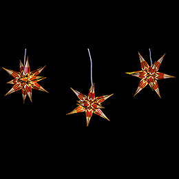 Hasslau Christmas Star Set of Three for Inside Use Red/White with Golden Pattern - 16 cm / 6.3 inch