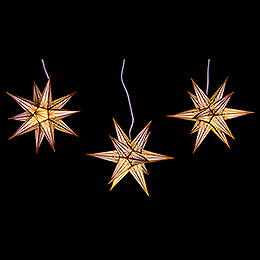 Hasslau Christmas Star Set of Three for Inside Use White with Golden Pattern - 16 cm / 6.3 inch