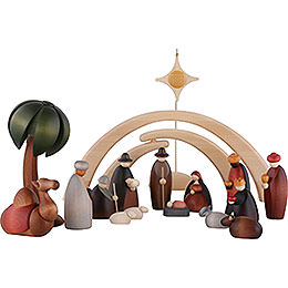 Nativity Set of 17 Pieces Including Stable and Star
