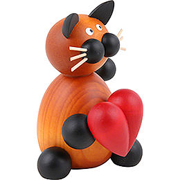 Cat Bommel with Heart - 8 cm / 3.1 inch